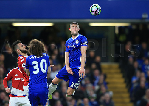 May 8th 2017, Stamford Bridge, Chelsea, London England; EPL Premier League football, Chelsea FC versus Middlesbrough; Gary Cahill of Chelsea heads the ball out