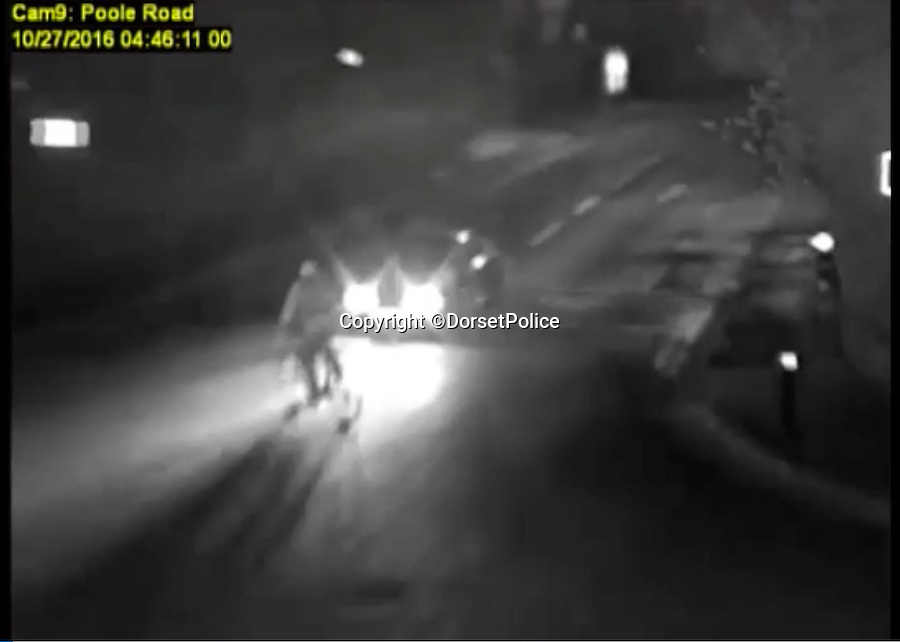 BNPS.co.uk (01202 558833)<br /> Pic: DorsetPolice/BNPS<br /> <br /> This is the shocking moment a cyclist was thrown through the air like a rag doll after a teenage driver crashed into him before speeding off.<br /> <br /> CCTV footage captured the horrifying moment victim Jacek Szafranski somersaulted 10ft before landing in the road.<br /> <br /> The video then shows him lying motionless on the ground as callous Benjamin George, 19, drives away without stopping to check on his 34-year-old victim.<br /> <br /> A court heard the horrific collision happened at the end of a five hour course of wreckless driving by George in Bournemouth, Dorset.<br /> <br /> He drove the wrong way down a dual carriageway in a Vauxhall Tigra, jumped through red lights, dangerously overtook multiple cars, almost lost control on a roundabout and nearly struck a pedestrian as he ran a red light in the space of two and a half hours.