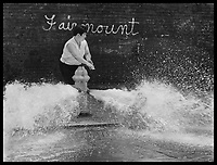 Kids playing in water from fire hydrant, Philadelphia PA 1969