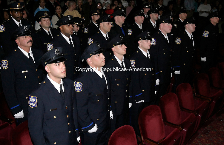 WATERBURY, CT 05 January 2005 -010505BZ05- Waterbury Police Academy cadets during graduation excercises at the Palace Theater Thursday night.<br /> Jamison C. Bazinet Republican-American