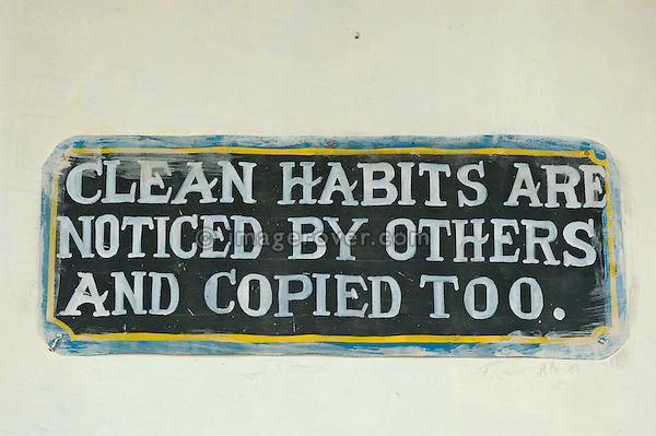 "India, Tamil Nadu, Ooty (Udhagamandalam). Sign in Ooty railway station reading ""clean habits are noticed by others and copied too""."