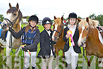 Lucia Bailey Ballymac, Lucy Knight Glencar and Julia O'Neill Killorglin who won ribbons at the Killorglin Pony show on Sunday..