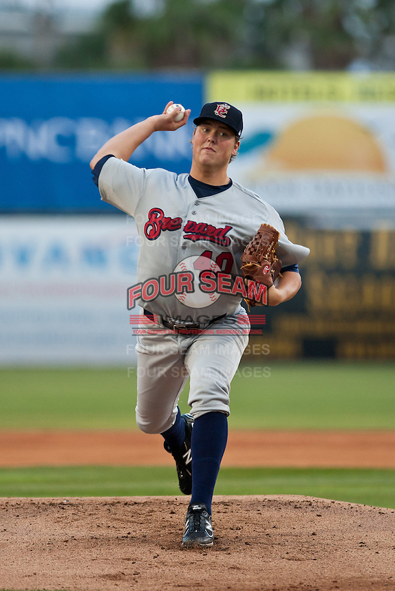 Pitcher Jimmy Nelson #40 of the Brevard County Mantees delivers a pitch during a game against the Daytona Cubs at Jackie Robinson Ballpark on April 6, 2012 in Daytona Beach, Florida. (Scott Jontes / Four Seam Images)