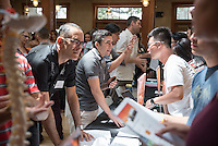 Occidental College's class of 2020 meets faculty and staff during the Academic Department Fair in Samuelson Pavilion (Tiger Cooler) during Orientation, Aug. 25, 2016.<br /> (Photo by Marc Campos, Occidental College Photographer)