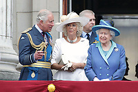 Prince Charles, Prince Andrew, Camilla Duchess of Cornwall, HM The Queen Elizabeth II<br /> The Royal Family watch RAF centenary fly-past at Buckingham Palace, The Mall, London, England on July 10, 2018.<br /> CAP/GOL<br /> &copy;GOL/Capital Pictures