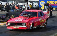 Feb. 17 2012; Chandler, AZ, USA; Jason Rupert makes an exhibition run in his nostalgia funny car at the Arizona Nationals at Firebird International Raceway. Mandatory Credit: Mark J. Rebilas-