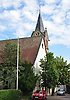 Evangelische Kirche, spätbarocker Saalbau, 18. Jh., Sandsteinquaderturm von 1901, Kirchgasse, Biebelnheim