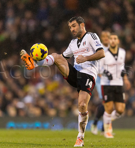 21.12.2013 London, England.  Fulham's Giorgos KARAGOUNIS during the Premier League game between Fulham and Manchester City from Craven Cottage.