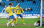 Kilmarnock v St Johnstone....03.03.12   SPL.Cammy Bell saves from Cillian Sheridan.Picture by Graeme Hart..Copyright Perthshire Picture Agency.Tel: 01738 623350  Mobile: 07990 594431