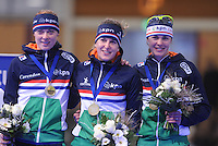 SCHAATSEN: BERLIJN: Sportforum Berlin, 06-12-2014, ISU World Cup, Podium Team Pursuit Ladies, Marije Joling, Ireen Wüst, Marrit Leenstra (NED), ©foto Martin de Jong