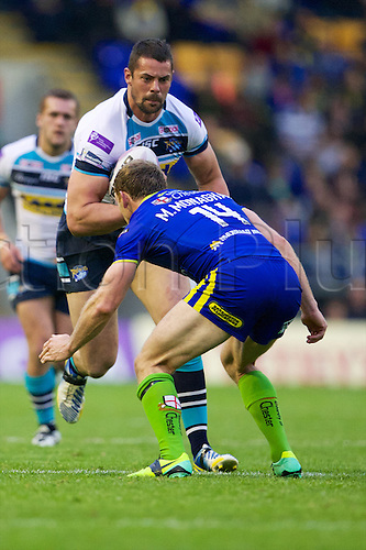 30.05.2014. Warrington, England. Warrington Wolves hooker Michael Monaghan in action during the Super League rugby match between Warrington Wolves and Leeds Rhinos from the Halliwell Jones stadium.