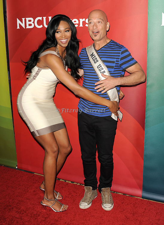 """Howie Mandel and Miss USA Nana Meriwether at the """"NBC Summer Press Day 2013"""" held at The Langham  Huntington Hotel and Spa in Pasadena, CA. April 22, 2013."""