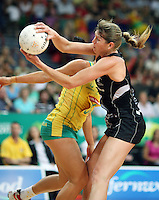 02.11.2008 Silver Ferns Irene Van Dyk and Australia's Mo'onia Gerrard in action during the Holden International Netball test match between the Silver Ferns and Australia played at Brisbane Entertainment Centre in Brisbane Australia. Mandatory Photo Credit ©Michael Bradley.