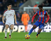 Burnley's Jack Cork vies for possession with Crystal Palace's Wilfried Zaha<br /> <br /> Photographer Ashley Crowden/CameraSport<br /> <br /> The Premier League - Crystal Palace v Burnley - Saturday 13th January 2018 - Selhurst Park - London<br /> <br /> World Copyright &copy; 2018 CameraSport. All rights reserved. 43 Linden Ave. Countesthorpe. Leicester. England. LE8 5PG - Tel: +44 (0) 116 277 4147 - admin@camerasport.com - www.camerasport.com