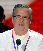 Former Governor Jeb Bush (Republican of Florida) participates in a microphone check at the 2012 Republican National Convention in Tampa Bay, Florida on Monday, August 27, 2012.  .Credit: Ron Sachs / CNP.(RESTRICTION: NO New York or New Jersey Newspapers or newspapers within a 75 mile radius of New York City)
