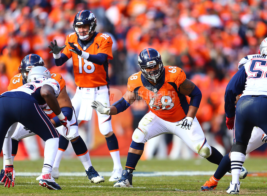 Jan 24, 2016; Denver, CO, USA; Denver Broncos offensive tackle Ryan Harris (68) blocks for quarterback Peyton Manning (18) against the New England Patriots in the AFC Championship football game at Sports Authority Field at Mile High. The Broncos defeated the Patriots 20-18 to advance to the Super Bowl. Mandatory Credit: Mark J. Rebilas-USA TODAY Sports