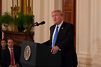 United States President Donald J. Trump delivers remarks as he announces his nomination of Brett Kavanaugh to be Associate Justice of the United States Supreme Court in the East Room of the White House on July 9th, 2018 in Washington, DC. <br /> CAP/MPI/RS<br /> &copy;RS/MPI/Capital Pictures
