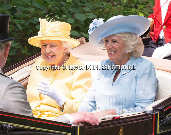 21.06.2017; Ascot, UK: QUEEN ELIZABETH AND CAMILLA, DUCHESS OR CORNWALL<br />in a jovial mood in the royal procession ride to Ascot Racecourse.<br />Mandatory Credit Photo: &copy;Dias/NEWSPIX INTERNATIONAL<br /><br />IMMEDIATE CONFIRMATION OF USAGE REQUIRED:<br />Newspix International, 31 Chinnery Hill, Bishop's Stortford, ENGLAND CM23 3PS<br />Tel:+441279 324672  ; Fax: +441279656877<br />Mobile:  07775681153<br />e-mail: info@newspixinternational.co.uk<br />Usage Implies Acceptance of OUr Terms &amp; Conditions<br />Please refer to usage terms. All Fees Payable To Newspix International