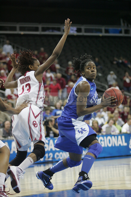 Fourth-seed UK women's hoops lost to third-seed Oklahoma Sooners on Tuesday, March 30, 2010 during the Kansas City Regional Final at the Sprint Center in Kansas City, Mo. The Sooners defeated the Cats, 88-68. Photo by Allie Garza | Staff