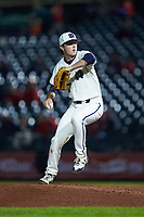 Notre Dame Fighting Irish relief pitcher Patrick McDonald (37) in action against the Louisville Cardinals in Game Eight of the 2017 ACC Baseball Championship at Louisville Slugger Field on May 25, 2017 in Louisville, Kentucky. The Cardinals defeated the Fighting Irish 10-3. (Brian Westerholt/Four Seam Images)