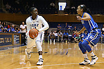 27 October 2013: Alexis Jones (left) and Chloe Wells (right). The Duke University Blue Devils played their annual preseason Blue White women's college basketball game at Cameron Indoor Stadium in Durham, North Carolina.