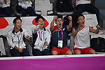 (L-R)   Yosuke Nakanishi,  Takuto Inoue, Takuro Hoki,   Kento Momota (JPN), <br /> AUGUST 19, 2018 - Badminton : Men's Team round 16 at Gelora Bung Karno Istora during the 2018 Jakarta Palembang Asian Games in Jakarta, Indonesia. <br /> (Photo by MATSUO.K/AFLO SPORT)