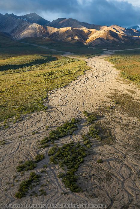 Braided river flowing out of the Alaska Range, Polychrome mountain, Denali National Park, Alaska.