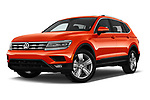 Stock pictures of low aggressive front three quarter view of a 2018 Volkswagen Tiguan SEL 4Motion 5 Door SUV