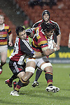 Troy Nathan tackles Sione Lauaki during the Air NZ Cup week 5 game between Waikato & Counties Manukau played at Rugby Park, Hamilton on 26th of August 2006.