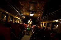 HAVANA, CUBA - APRIL 5: Cuban man passes along the train selling food to the passengers during the overnight trip Havana to Santiago de Cuba on April 5, 2018.. in Cuba. Ferrocarriles de Cuba, is one of the oldest railroad around world, having opened its first route in 1837 with at least 17-mile long. Now the railway probably could cover more than 2,600 miles along the Island. (Photo by Eliana Aponte/VIEWpress)
