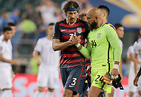 Philadelphia, PA - Wednesday July 19, 2017: Omar Gonzalez, Tim Howard during a 2017 Gold Cup match between the men's national teams of the United States (USA) and El Salvador (SLV) at Lincoln Financial Field.