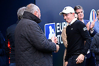 Matthew Fitzpatrick of England is congratulated by his Manager Chubby Chandler following his victory during Round 4 of the 2015 British Masters at the Marquess Course, Woburn, in Bedfordshire, England on 11/10/15.<br /> Picture: Richard Martin-Roberts | Golffile