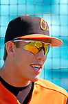 5 March 2006: Val Majewski, outfielder for the Baltimore Orioles, talks to the media prior to a Spring Training game against the Washington Nationals. The Nationals defeated the Orioles 10-6 at Space Coast Stadium, in Viera Florida...Mandatory Photo Credit: Ed Wolfstein..