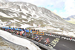 The remains of the peleton 300 metres from the finish of Stage 9 of the 2018 Giro d'Italia, running 225km from Pesco Sannita to Gran Sasso d'Italia (Campo Imperatore), this year's Montagna Pantani, Italy. 13th May 2018.<br /> Picture: LaPresse/Massimo Paolone | Cyclefile<br /> <br /> <br /> All photos usage must carry mandatory copyright credit (&copy; Cyclefile | LaPresse/Massimo Paolone)