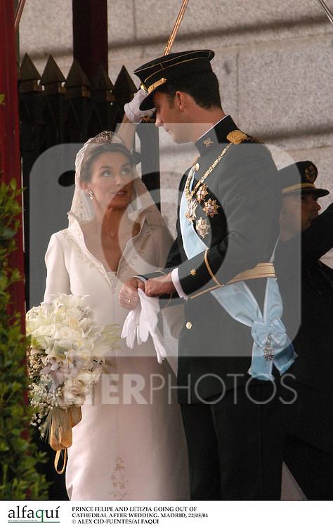 El Principe Felipe de Borbon y Letizia Ortiz el día de su boda. Madrid, España, 22/05/04..Prince Felipe of Borbon and Letizia Ortiz during their wedding day. Madrid, Spain, 05/22/04.