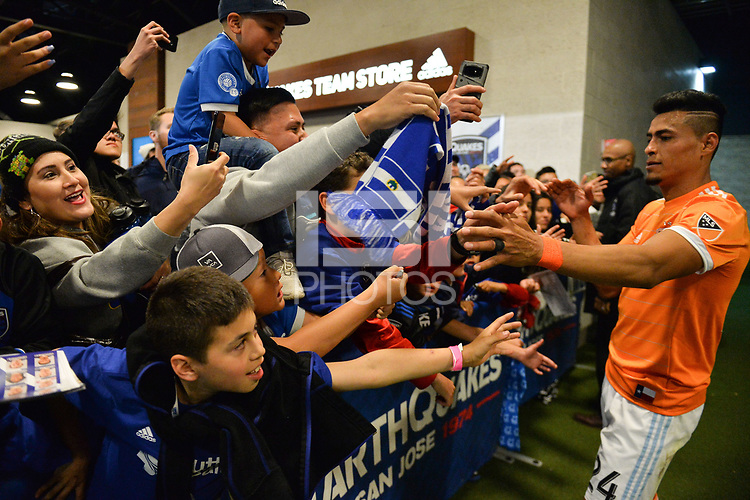 San Jose, CA - Saturday April 14, 2018: Fans, Darwin Cerén during a Major League Soccer (MLS) match between the San Jose Earthquakes and the Houston Dynamo at Avaya Stadium.