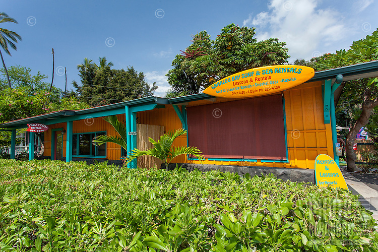 Kahalu'u Surf & Sea Rentals shop, Kailua-Kona, Big Island.