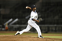 Relief pitcher Aaron Ford (33) of the Columbia Fireflies delivers a pitch during a game against the Charleston RiverDogs on Tuesday, August 28, 2018, at Spirit Communications Park in Columbia, South Carolina. Columbia won, 11-2. (Tom Priddy/Four Seam Images)
