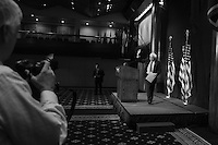 Washington, DC - May 1, 2016: Sen. Bernie Sanders leaves the ballroom at the National Press Club in the District of Columbia, May 1, 2016, after holding a news conference to outline his remaining campaign strategy as he trails former Secretary of State Hillary Clinton in the delegate count for the 2016 Democratic presidential nomination.. AP photographer Cliff Owen (l) prepares to photograph Sanders' exit. (Photo by Don Baxter/Media Images International)