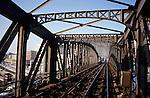City railway bridge stands empty, Paris, France.
