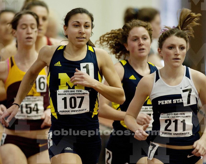 University of Michigan women's track and field at the first day of the 2011 Big Ten Indoor Track and Field Championships Hosted by Purdue University on February 26, 2011.