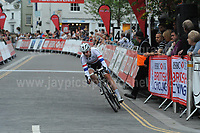 The 2017 Abergavenny Festival of Cycling on Friday 7th July 2017 - <br /> <br /> The eventual race winner Christopher Lawless of the Axeon Hagens Berman CT racing team is way ahead of the other competitors.<br /> <br /> <br /> Jeff Thomas Photography<br /> www.jaypics.photoshelter.com<br /> e-mail swansea1001@hotmail.co.uk<br /> Mob: 07837 386244