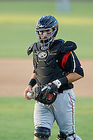 Austin Hedges #24 of the Lake Elsinore Storm during a game against the Inland Empire 66'ers at San Manuel Stadium on June 23, 2013 in San Bernardino, California. Lake Elsinore defeated Inland Empire, 6-2. (Larry Goren/Four Seam Images)