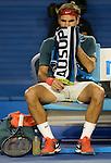 Roger Federer (SUI) defeats Jo Wilfried Tsonga (FRA) 6-3, 7-5, 6-4 at the Australian Open in Melbourne, Australia on January 20, 2014