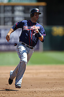 OAKLAND, CA - AUGUST 22:  Joe Mauer #7 of the Minnesota Twins runs the bases against the Oakland Athletics during the game at O.co Coliseum on Wednesday, August 22, 2012 in Oakland, California. Photo by Brad Mangin