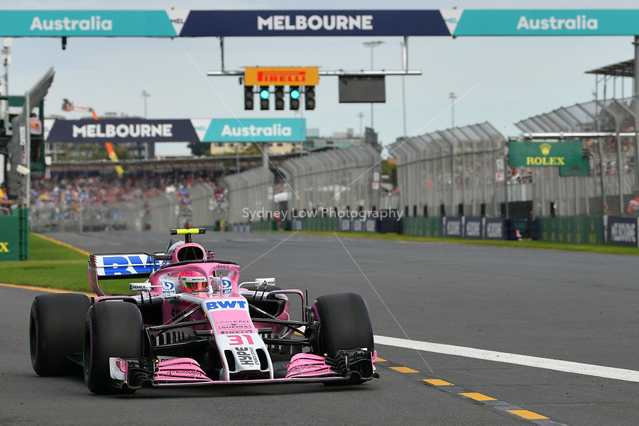 March 24, 2018: Esteban Ocon (FRA) #31 from the Sahara Force India F1 team leaves the pit for his qualifying lap at the 2018 Australian Formula One Grand Prix at Albert Park, Melbourne, Australia. Photo Sydney Low