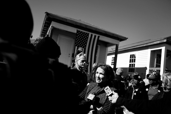 January 30, 2008. New Orleans, LA.. Elizabeth Edwards, wife of Senator John Edwards, spoke to the press.. Former US Senator and presidential hopeful John Edwards bowed out of the presidential race today in New Orleans, where he had announced his presidential run in 2007. He spoke at the Musicians Village, a housing community being built in the 9th Ward by Habitat for Humanity.