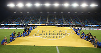 San Jose, CA - Saturday September 16, 2017: Kick Childhood Cancer banner prior to a Major League Soccer (MLS) match between the San Jose Earthquakes and the Houston Dynamo at Avaya Stadium.