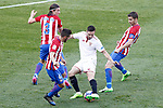 Atletico de Madrid's Filipe Luis (l), Koke Resurrecccion (2l) and Gabi Fernandez (r) and Sevilla FC's Pablo Sarabia during La Liga match. March 19,2017. (ALTERPHOTOS/Acero)