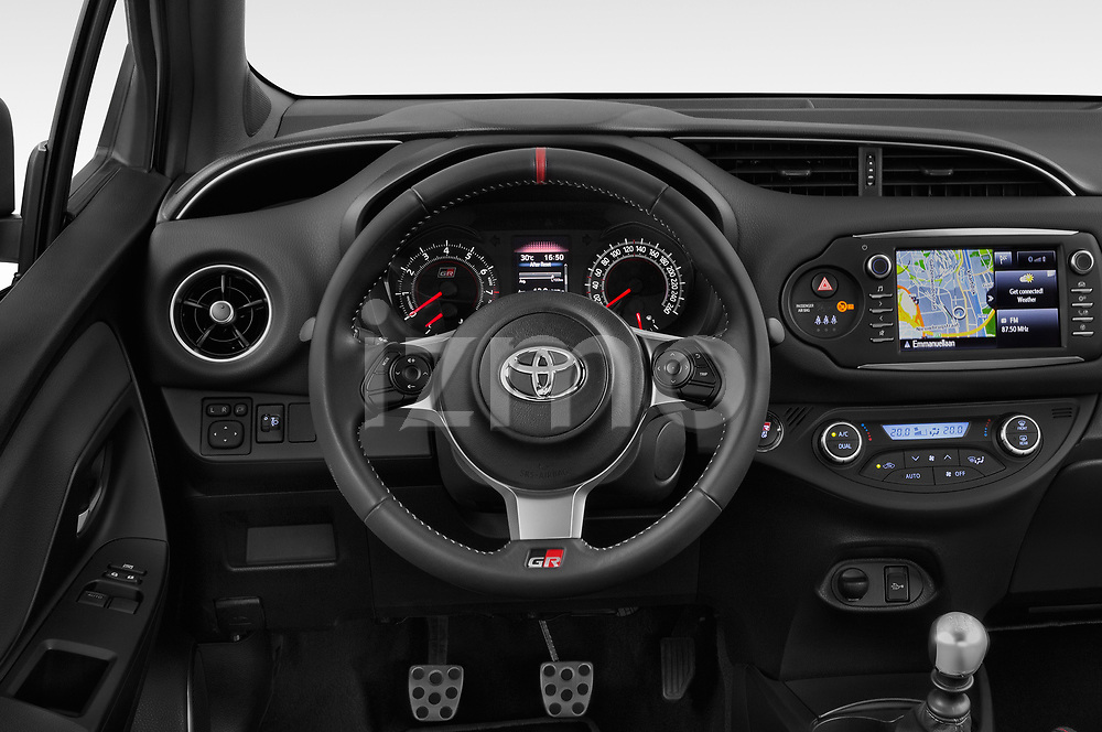 Car pictures of steering wheel view of a 2018 Toyota Yaris GRMN 3 Door Hatchback